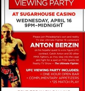 ULTIMATE FIGHTER 19 VIEWING PARTY at the Sugarhouse casino (Wed at 9pm)